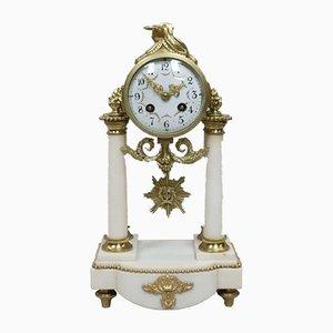 Horloge de Cheminée Antique en Marbre de Samuel Marti, France