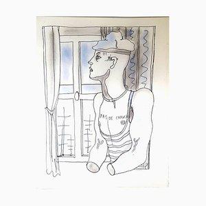 Handgefärbte Pas de Chance Lithografie von Jean Cocteau, 1930