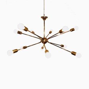 Lampadario a 12 braccia Sputnik Mid-Century in ottone, anni '50