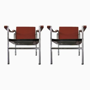 Italienische LC1 Armlehnstühle von Le Corbusier, Pierre Jeanneret & Charlotte Perriand für Cassina, 1980er, 2er Set