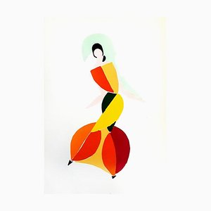 Living Painting Color Pochoir Print by Sonia Delaunay, 1969