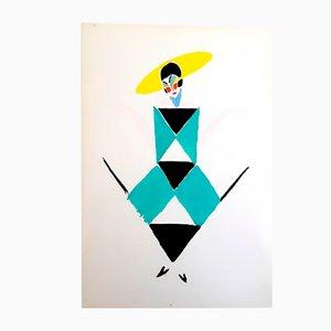 Lebendes Gemälde Pochoir-Kunstdruck von Sonia Delaunay, 1969