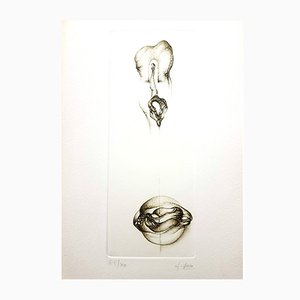 Grey Surrealism VI Etching by Fred Deux, 1970s
