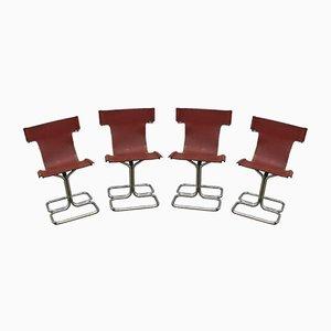 Italienische Vintage Esszimmerstühle aus Leder & Metall, 1970er, 4er Set