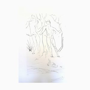 Adam and Eve Etching by Salvador Dali, 1971