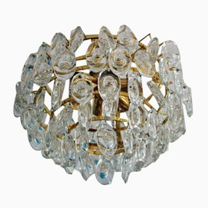 Glass and Brass Ceiling Lamp from Palwa, 1960s