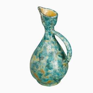 Grün glasierte italienischer Mid-Century Kanne aus Keramik von Ungania, 1940er