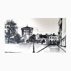 Parisian Street Transfer Lithografie von Maurice Utrillo, 1937