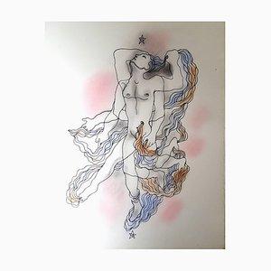 Handgefärbte White Book Lithografie von Jean Cocteau, 1930