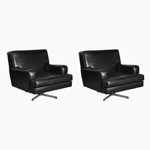 Large Mid-Century Belgian Brutalist Eco-Leather Swivel Armchairs, 1950s, Set of 2