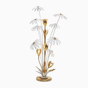 Florale deutsche Stehlampe aus Messing & Eisen von Hans Kögl, 1970er