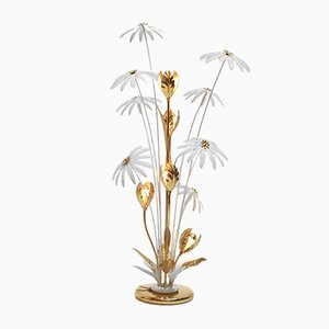 German Brass and Iron Floral Floor Lamp by Hans Kögl, 1970s