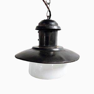 Lampe à Suspension Vintage en Verre Opalin et Émail, 1960s