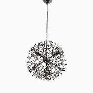 Lampadario Sputnik in metallo cromato di Gaetano Sciolari, Italia, anni '70
