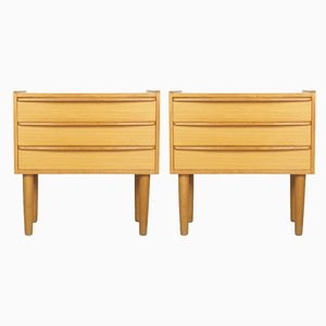 Mid-Century Danish Oak Veneer Nightstands, 1960s, Set of 2