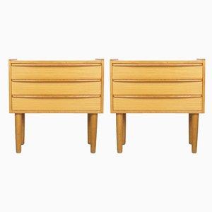 Tables de Chevet Mid-Century en Placage de Chêne, Danemark, 1960s, Set de 2