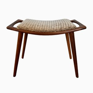 Norwegian Teak & Wool Stool, 1950s