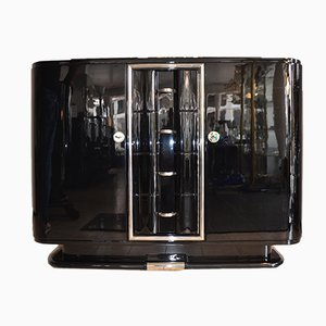 Art Deco French Black Lacquered Sideboard, 1930s