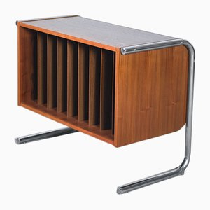 Vintage Chrome and Teak Vinyl Cabinet, 1970s