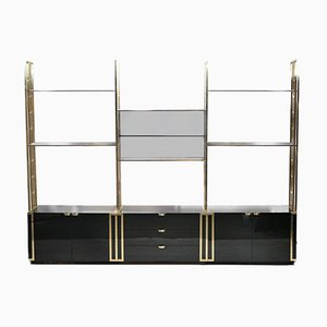 French Brass and Smoked Glass Wall Unit by Kim Moltzer, 1970s