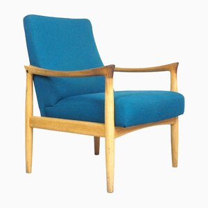 Danish Petrol Wool & Oak Armchair from Fritz Hansen, 1960s