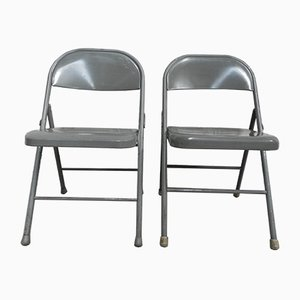 Industrial Steel Folding Chairs, 1960s, Set of 2
