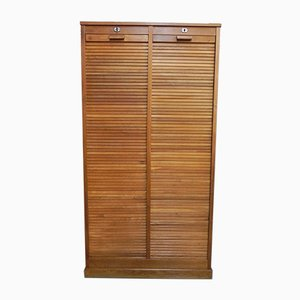 Vintage Industrial French Oak Roller Cabinet with 2 Shutters, 1930s