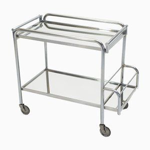 French Glass and Steel Serving Trolley by Jacques Adnet, 1930s
