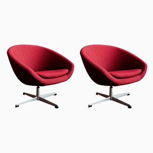 German Fabric and Metal Swivel Chairs, 1960s, Set of 2