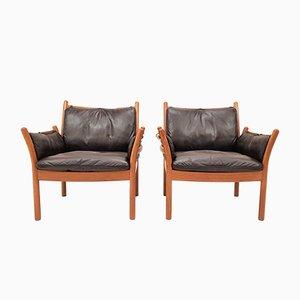Dänische Sessel mit Lederpolster & Gestell aus Teak von Illum Wikkelsø für CFC Silkeborg, 1960er, 2er Set