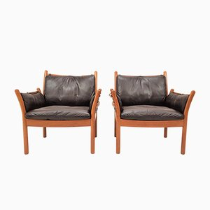 Danish Leather and Teak Lounge Chairs by Illum Wikkelsø for CFC Silkeborg, 1960s, Set of 2