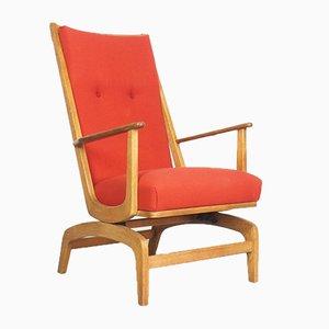 Mid-Century Danish Oak & Wool Rocking Chair, 1960s