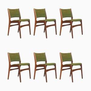 Dänische Modell 89 Esszimmerstühle mit Gestell aus Teak & Wollbezug von Erik Buch für Anderstrup Mobelfabrik, 1960er, 6er Set