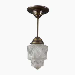 French Art Deco Skyscraper Pendant Light, 1920s