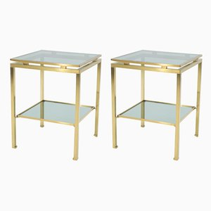 French Brass and Smoked Glass Side Tables by Guy Lefèvre for Maison Jansen, 1970s, Set of 2