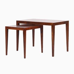 Tables Basses Vintage en Palissandre par Severin Hansen pour Haslev, Set de 2