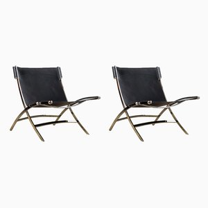 Mid-Century Chrome & Black Leather Timeless Lounge Chairs by Antonio Citterio for Flexform, 1970s, Set of 2