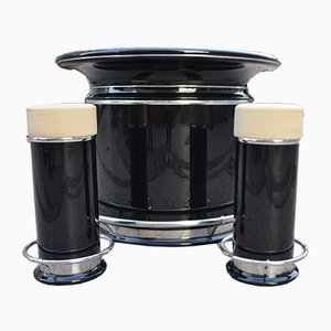 Art Deco French Black Bar with 2 Stools Set, 1950s