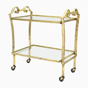 Art Deco French Glass and Gold Leaf Trolley from Maison Ramsay, 1940s