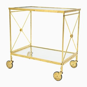 Neo-Classical French Glass Gilt Trolley from Maison Jansen, 1960s