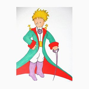 The Little Prince in a Big Coat Lithograph by Antoine de Saint Exupery