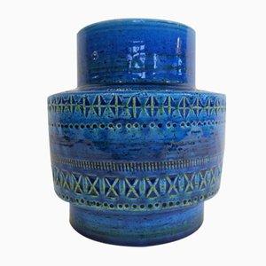 Italienische Vintage Rimini Blu Keramikvase von Aldo Londi für Montepulo Flavia