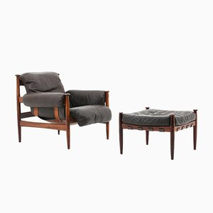 Leather and Rosewood Amiral Armchair & Ottomn Set by Eric Merthen for Ire Mobel 1, 1960s