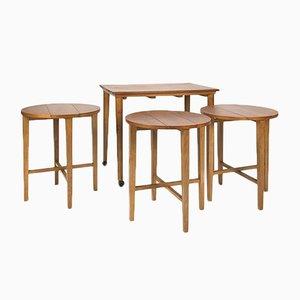 Dänischer Rolltisch aus Buche & Teak mit Satztischen von Poul Hundevad, 1960er
