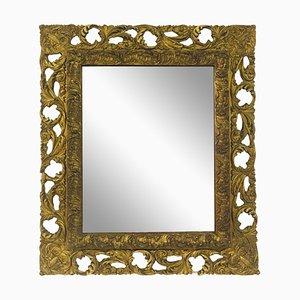 Antiker Florentiner Spiegel mit Rahmen aus vergoldetem Holz & Gesso