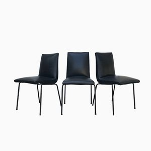 Leatherette and Metal Dining Chairs by Pierre Guariche, 1950s, Set of 3