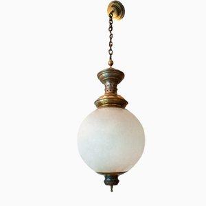 Lampada da soffitto in ottone e vetro di Luigi Caccia Dominioni per Azucena, Italia, anni '50