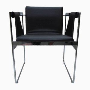 Moderner Armlehnstuhl aus Chrom & Skai, 1960er