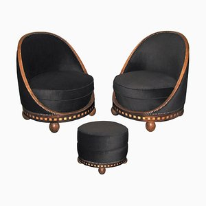 Art Deco French Lounge Chairs & Footrest Set by Etienne Kohlmann, 1930s