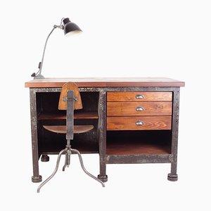 Bureau et Chaise Industriels Vintage